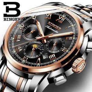 Image 5 - Switzerland Automatic Mechanical Watch Men Binger Luxury Brand Mens Watches Sapphire clock Waterproof relogio masculino B1178 3