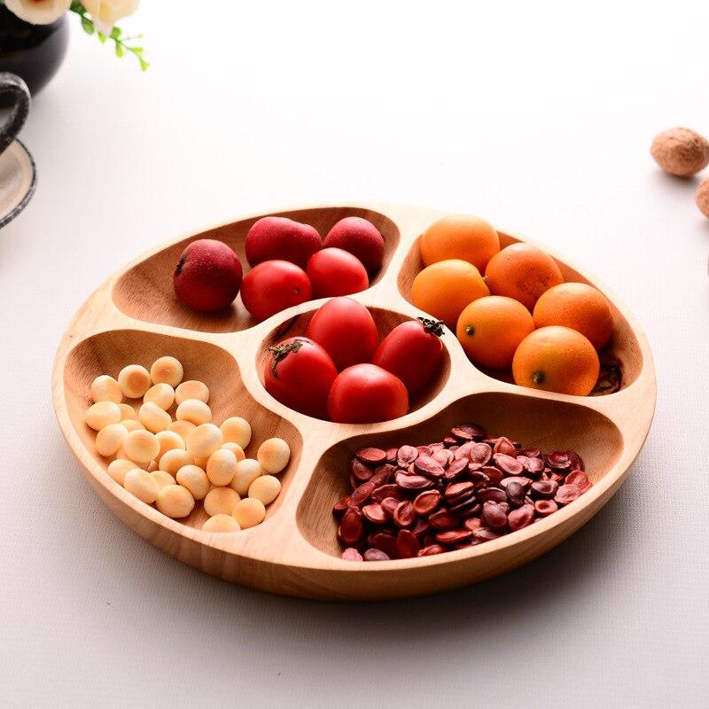 Bois Snack plat cinq treillis famille fruits dessert plat grains entiers plaque incassable Simple maison fête service plateau