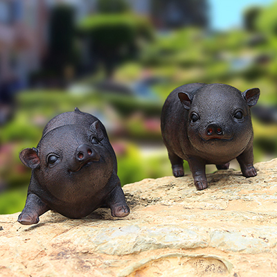 about 26x10x14cm simulation black pig model Environmentally resin handicraft,Pastoral garden decoration toy gift a0160