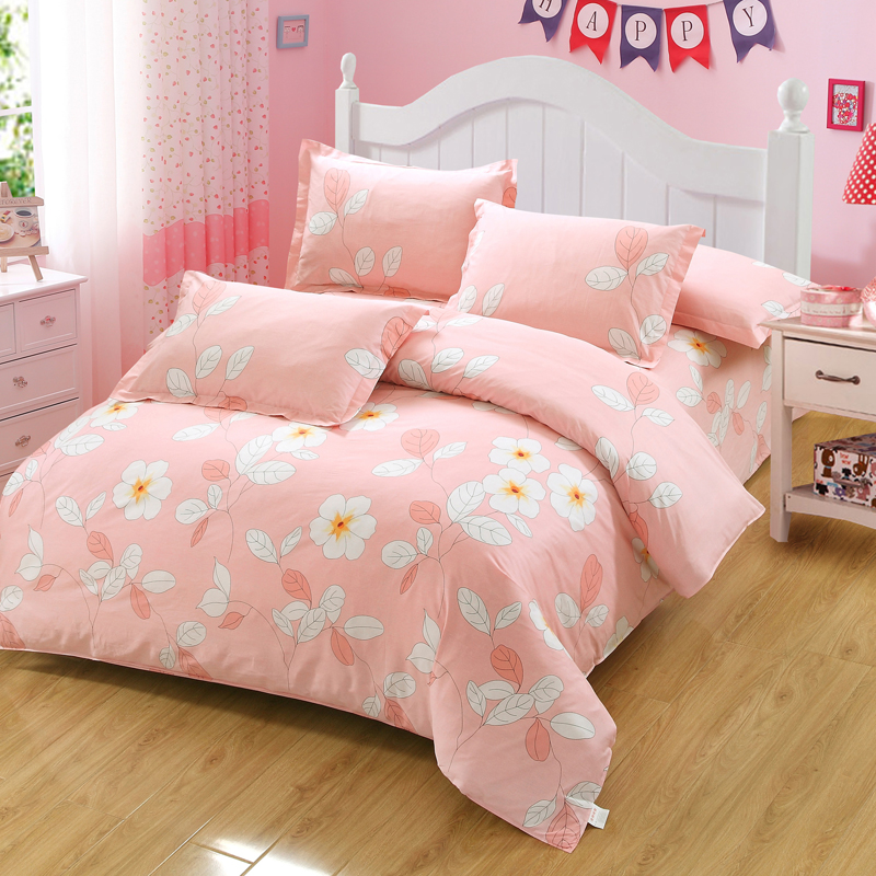 Home Textile Soft Pink Girl Bed Linen 4Pcs Sweet Flower Bedding Sets Duvet Cover Pillowcase Bed Sheet Twin Full Queen King