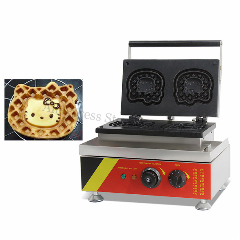 Electric Hello Kitty Waffle Cake Baker Machine Cartoon Cat Shape Stainless Steel Housing 220V 110V Brand New hello kitty women s hello cartoon print short pajama set