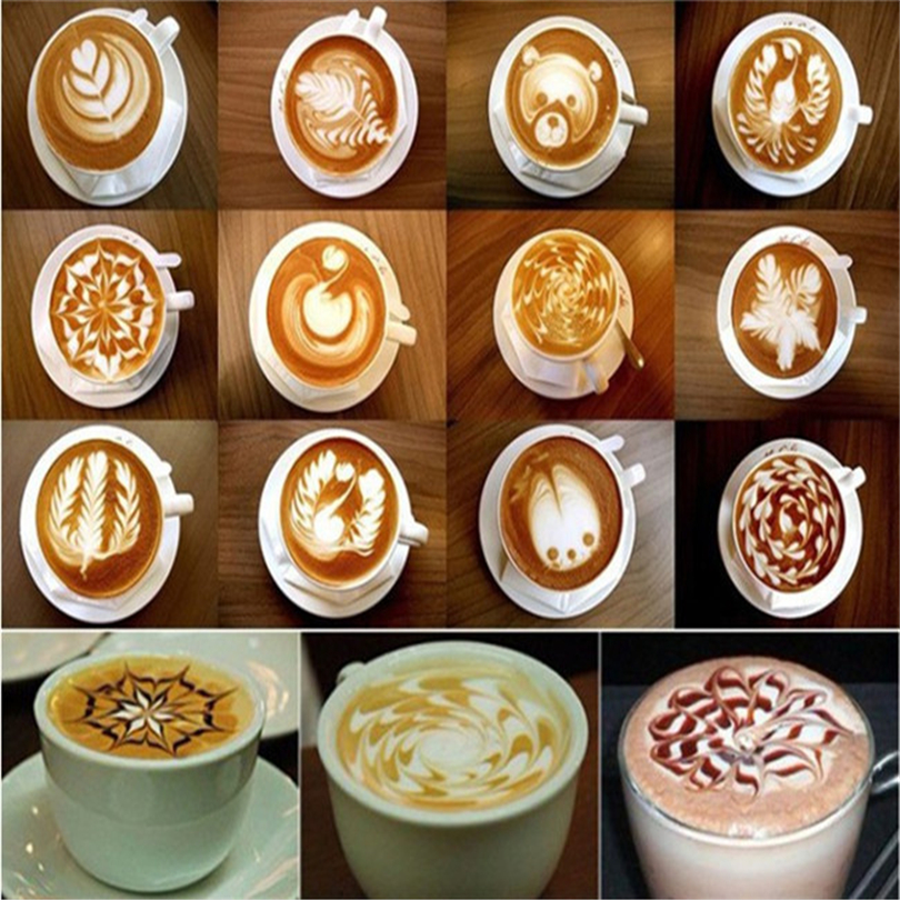 16 Pcs/set Coffee Drawing Cappuccino Mold Fancy Natie Printing Model Coffee Foam Spray Cake Stencils Powdered Sugar Sieve Tools