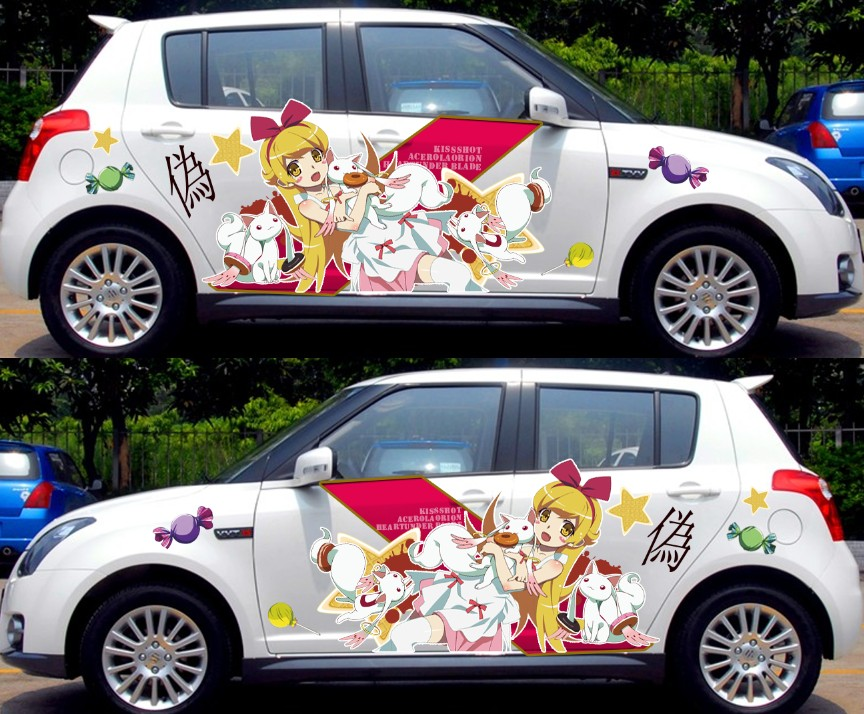 2 PCS Personnalisable Anime L'ensemble Mignon Autocollants De Voiture Graffiti Vinyle Wrap Sexy Silhouette Décalque De Voiture Autocollant Racing StickersCN150