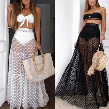 Beach Dress Women's Bikini 2019 Cover Up Skirt Dress Chiffon Sarong Swimwear Beach Wrap Skirt 8