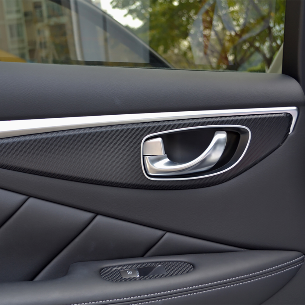 Auto Window Switch Panel Door Handle Trim Carbon Fiber Film Car Styling Sticker And Decal For