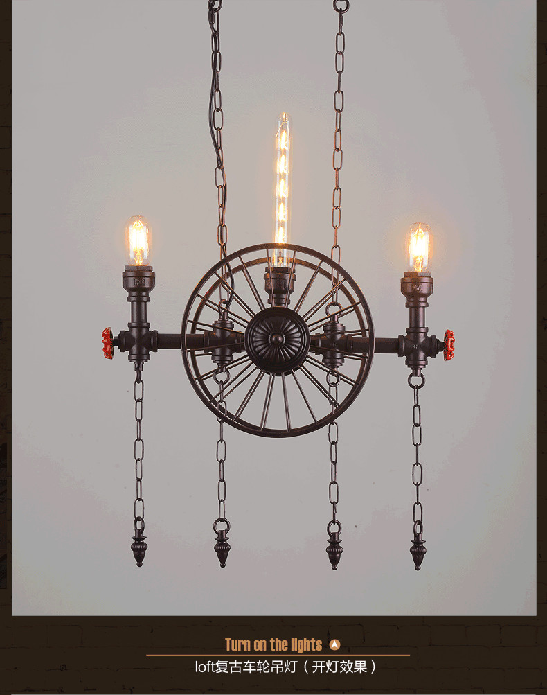 Industrial Retro Metal Pendant Lamp Creative Loft Style Wheel Decoration Pipe Light Restaurant Cafe Bar Light Free Shipping light the mediterranean restaurant in front of the hotel cafe bar small aisle entrance hall creative pendant light df57