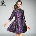 Осень зима взлетно-посадочной полосы дизайнер женщины платья темно-синий фиолетовый цветок печати бальное платье чи-пао топ воротник старинные мило mini dress