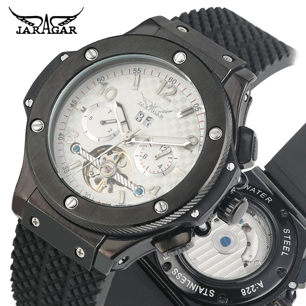 Classic Automatic self winding Mechanical Watch for Men Premium Silicone Band Mechanical Wristwatch Gift for Male in Mechanical Watches from Watches