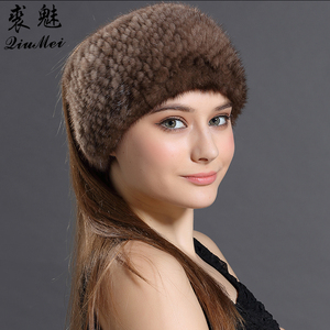 QiuMei Winter Knitted Real Fur Hats&Winter 2018 Scarves For Women New Warm Mink Fur Solid Hat Beanies Female Genuine Mink Fur