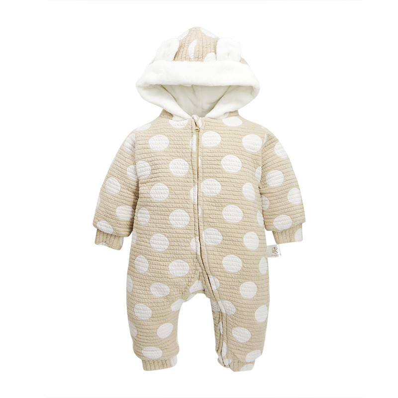 Baby Boys and Baby Girls Polka Dot Hooded Rompers Newborn Cotton Comforatable Class A Jumpsuits Long Sleeve Winter Outwear unisex baby boys girls clothes long sleeve polka dot print winter baby rompers newborn baby clothing jumpsuits rompers 0 24m