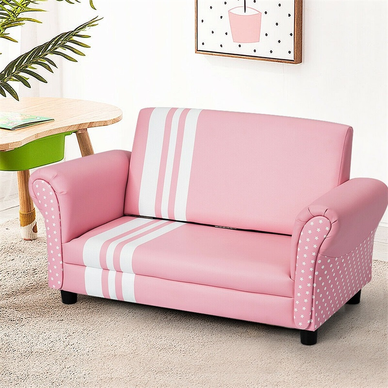 Foldable Kids Love Seat Princess Sofa Chair High Quality PVC Leather Comfort Thick Resilient Sponge Durable Wooden Frame HW61180