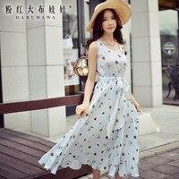 Dabuwawa Dresses Summer 2017 New Daisy Printing Sweet Sleeveless Lady Fashion Casual Long Floral Pleated Dress