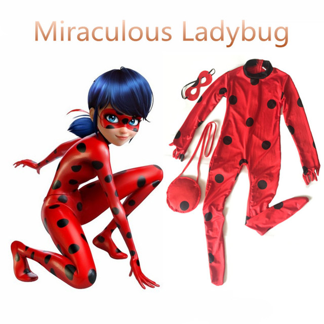 New Year Girls Kids Miraculous Ladybug Cosplay Costume With Mask Ladybug  Romper Costume Cat Suit Christmas Day Halloween Party a3e117fbc8e4