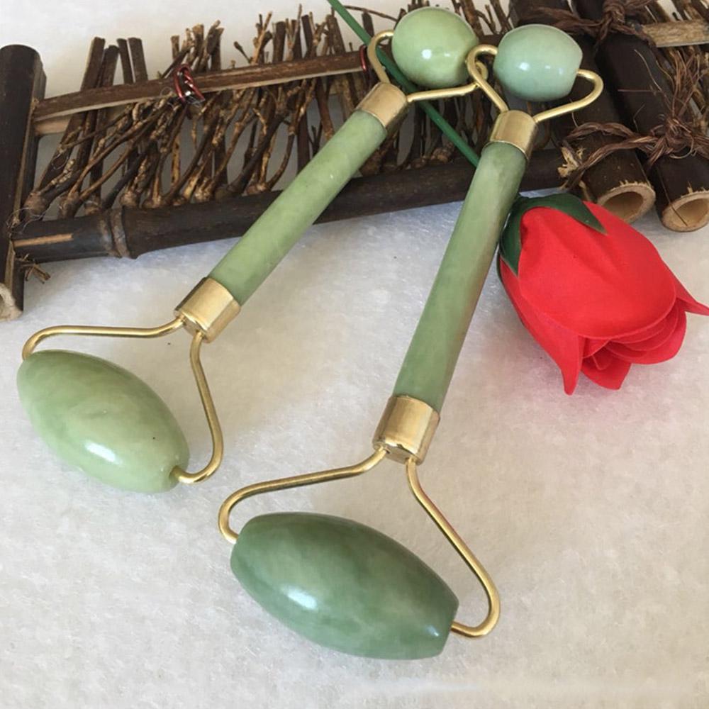 Double Green Jade Roller Facial Roller Face Massager Slimming Face Neck lift masajeador Facial Massage Stone Beauty Health Care