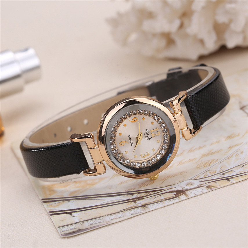 2017Relogio Feminino Hot Sale Women Fine Leather Band Diamond Analog Quartz Movement Wrist Watch#MAY22 relojes mujer 2017 fashion women casual geneva roman leather band analog quartz wrist watch hot sale bayan saat relogio feminino