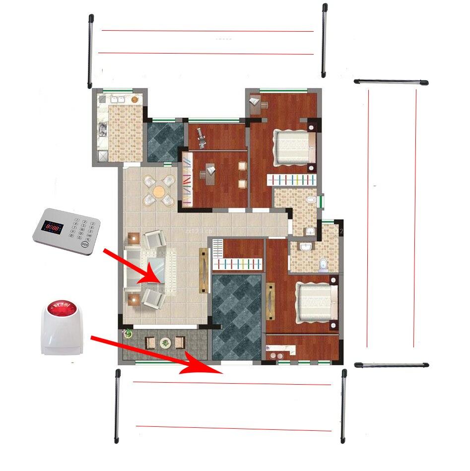 Wireless Alarm Fence Detector Infrared Photoelectic Beam Sensor for House Security System wireless vibration break breakage glass sensor detector 433mhz for alarm system