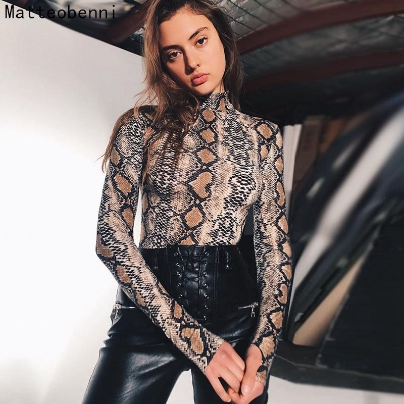 Turtleneck Snake skin Bodysuit Women Slim Fit Bodycon Jumpsuit Sexy High Street Bodysuits Tops Autumn Body Clothing Long sleeve