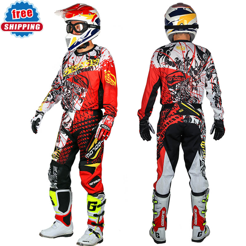 Aspiring New Motoboy Men's Professional Offroad Motocross Racing Polyester Jersey Tshirt And Pant Suit Set With Colored Printing