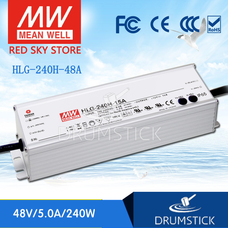 (Only 11.11)Genuine MEAN WELL HLG-240H-48 (2Pcs) 48V 5A meanwell HLG-240H 48V `240W Single Output LED Driver Power Supply A type все цены