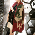 Double-side Wool Spinning Pashmina Women Shawl Color Patchwork Scarf Winter Warm Wraps