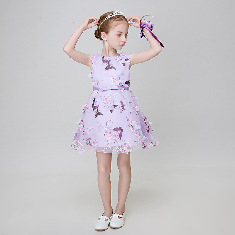 Summer 2017 Fashion Elegant Kids Girls Dress Knee Length Slim Lace Embroidery Prom Party Wedding Flower Girls Dress Dresses P29 girls embroidery detail contrast lace hem dress