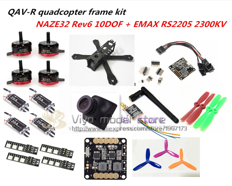 DIY FPV mini drone QAV-R quadcopter pure carbon 4x2 frame kit EMAX RS2205 + little bee 20A ESC 2-4S + NAZE32 Rev6 10DOF + 700TVL carbon fiber frame diy rc plane mini drone fpv 220mm quadcopter for qav r 220 f3 6dof flight controller rs2205 2300kv motor