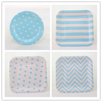 Free Shipping 48pcs 18cm/7inch Square & Round Kids Paper Plates Blue Chevron Zig Zag Birthday Wedding Party Serving Dishes