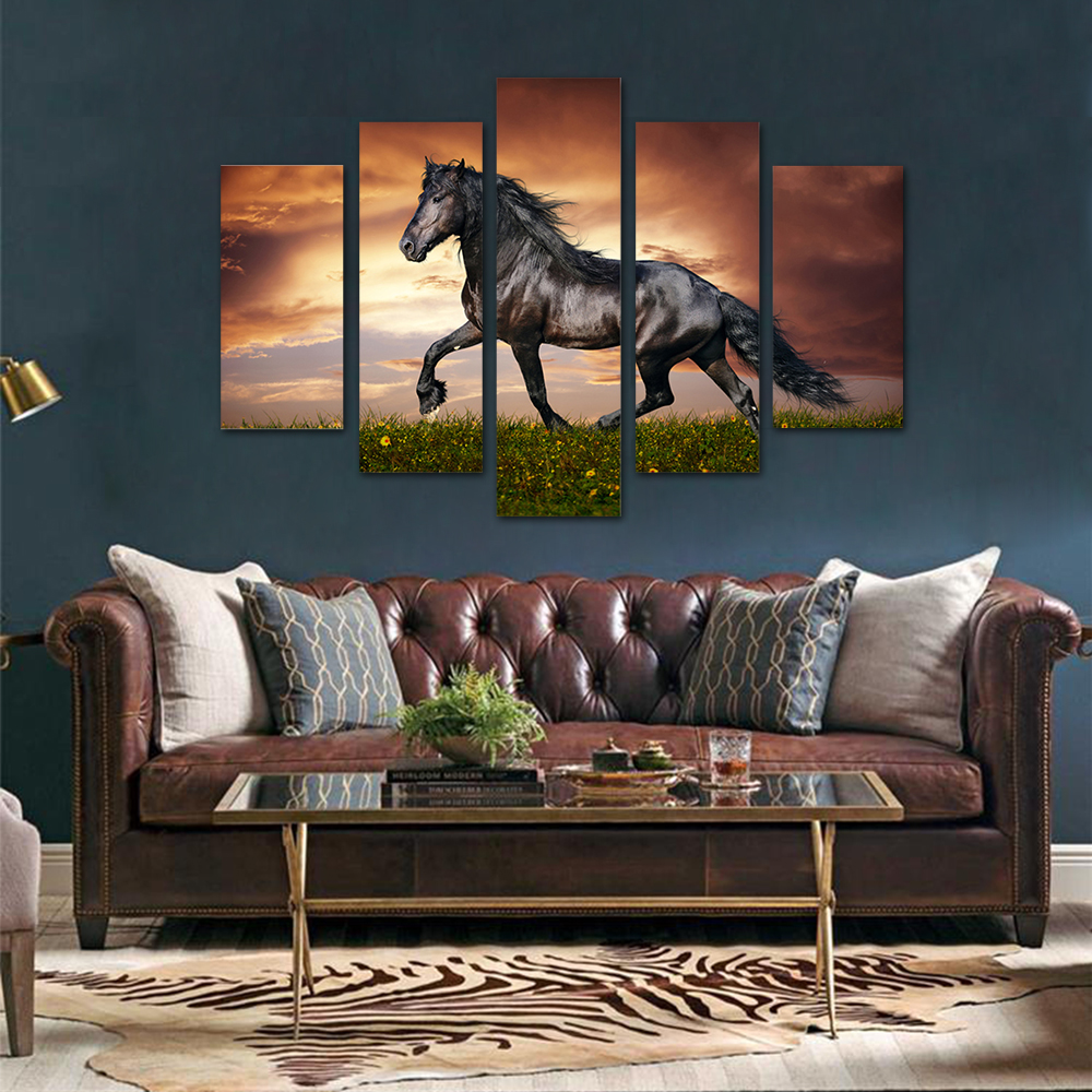 Unframed HD Print 5 Canvas Art Painting Dark Horse Living Room Decoration Spray Painting Mural Unframed Free Shipping