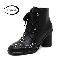 Autumn winter Women Ankle Boots Punk style Rivet Lace-Up Thick with Martin boots high heels gothic shoes zapatos mujer