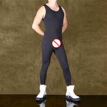Combinaison Sexy en soie glacée pour hommes, combinaison de Yoga, musculation, Fitness, sans manches, combinaison moulante, léotard, survêtement noir