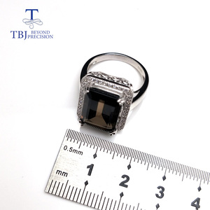 Image 4 - TBJ,Classic big size gemstone ring with Natural smoky oct10*14mm in 925 sterling silver special gemstone jewelry gift for women