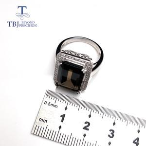 Image 4 - TBJ bague classique en pierres précieuses de grande taille, bijoux en pierres précieuses, avec fumée naturelle oct10 * 14mm en argent sterling 925, cadeau pour femmes