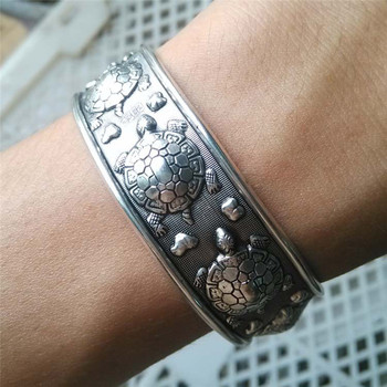 Antique Silver Plated Tibetan Turtle Shaped Bracelets Women Cuff Bracelet Bangle Adjustable Jewelry 1