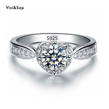 Eleple Romantic Heart wedding Rings For Women engagement ring gifts fashion jewelry White Gold color accessories VSR107