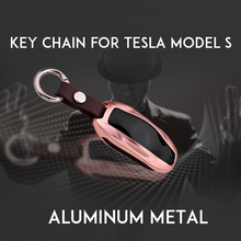 Car Key Case Shell Cover With Chain For Tesla Model S Premium Aluminum Metal