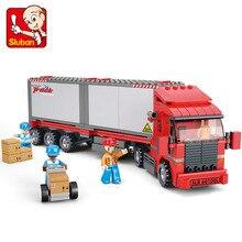Sluban model building kits compatible with loge city truck 520 3D blocks Educational model & building toys hobbies for children