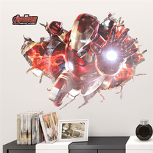 3d Iron Man Broken Hole Wall Sticker Boys Room Home Decoration Kids Wall Decals Diy Super Hero Wall Mural Art Anime Movie Poster scary ghost 3d broken wall art sticker