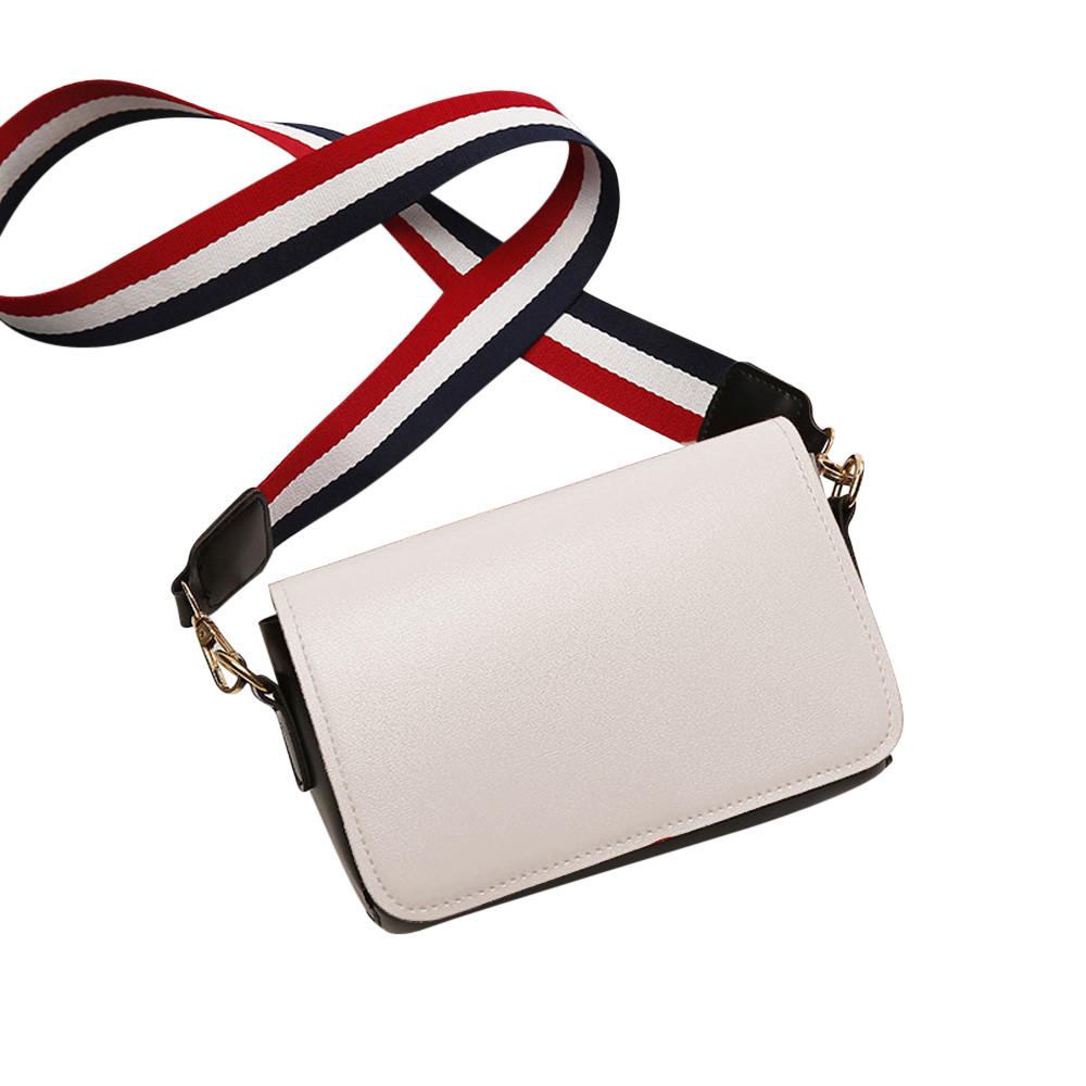 Aelicy Small Brief Shoulder Bag Women Pure Color PU Leather Flap Bags Striped Straps Fashion Messager Bag bolsa feminina C30
