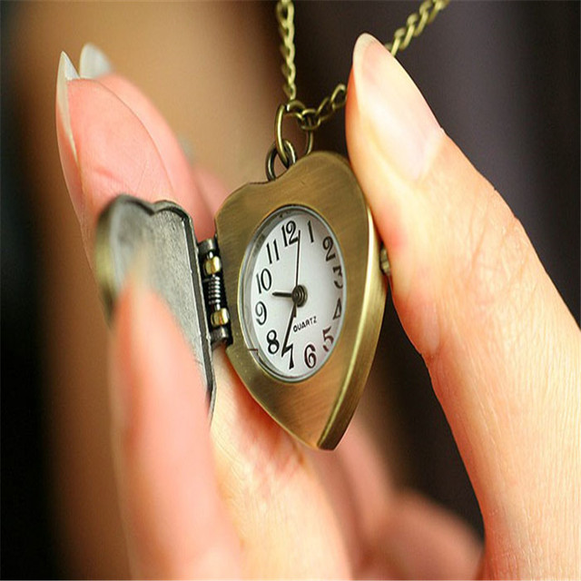 Perfect Gift New Love Heart to you Bronze Necklace Chain Pocket Watch Necklace W