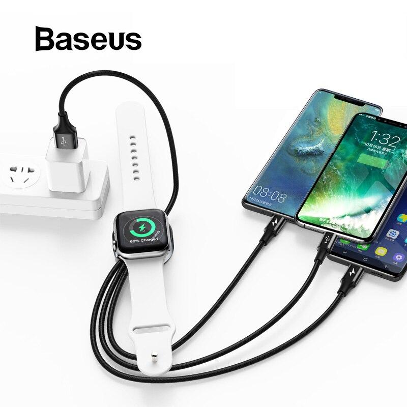 d1995bb3e70 Cargador inalámbrico Baseus para Cable cargador de reloj Appple 4 en 1  Cable USB para iPhone Xs Max Samsung S9 USB tipo C Cable USB a Micro USB