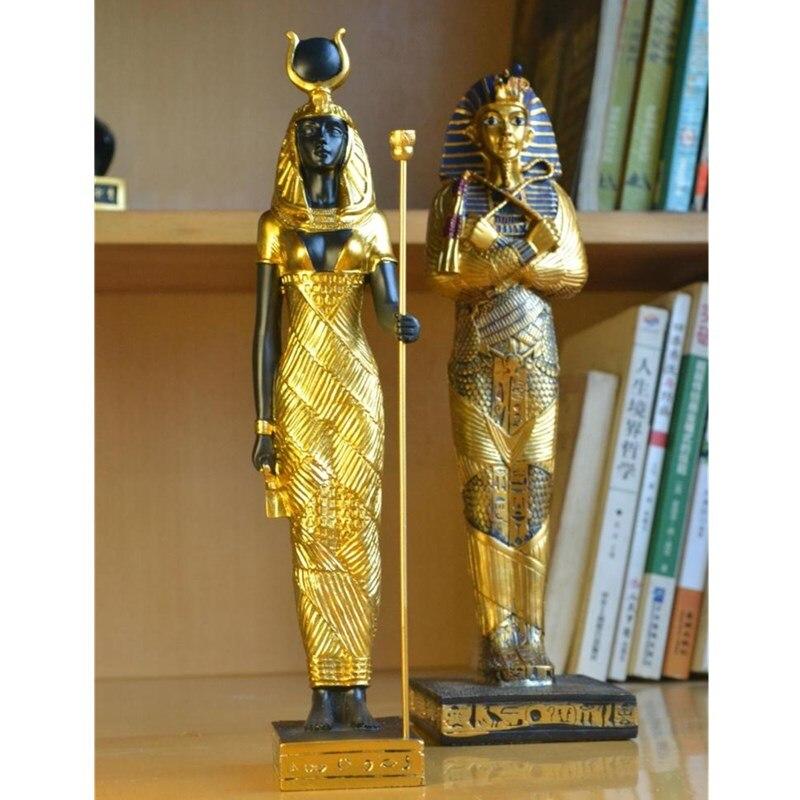 Égypte pharaon Figurines décoratives déesse égyptienne Statue artisanat noël décoration de la maison pyramide résine artisanat cadeaux R268