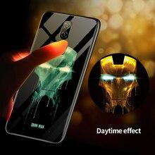 Marvel Venom Iron Man Luminous Glass Phone Case For Oneplus 5 5T 6 6T 7 7Pro Avengers Captain America Black Panther Cover Coque