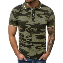 New Man Polo Shirts Mens Casual Cotton Shirt Men Print Camouflage Short Sleeve High Quantity Breathable For