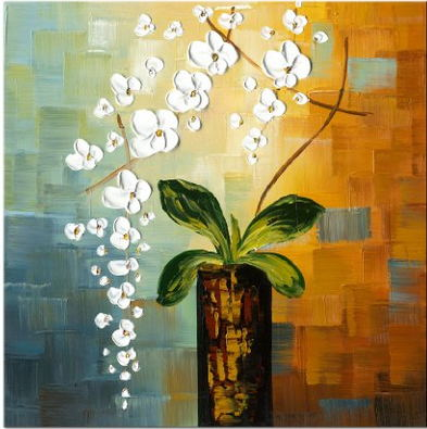 Beautiful knife white flowers and green leaf handmade oil painting beautiful knife white flowers and green leaf handmade oil painting canvas wall art home living room mightylinksfo