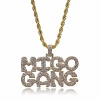 Hip Hop Jewelry MIGO GANG Iced Out Chain Tide brand Pendant Cubic Zircon Personalized Necklace for male dropshipping