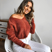96f4b9c3d3 ZHYMIHRET 2018 Autumn Knitted Sweaters Pullover V Neck Long Sleeve Solid Women  Short