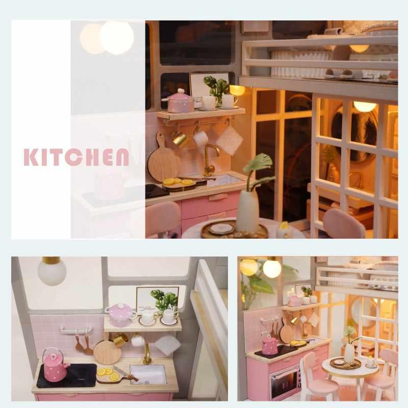 CUTEBEE FAI DA TE Casa di Bambola di Legno Case di Bambola Miniatura della Mobilia del dollhouse Kit Giocattoli per i bambini Regalo Di Natale L025