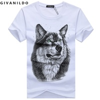 2016 Fashion Wolf Printed Cartoon Short Sleeve Casual Cotton Large Size 5XL Tee Shirt Men T