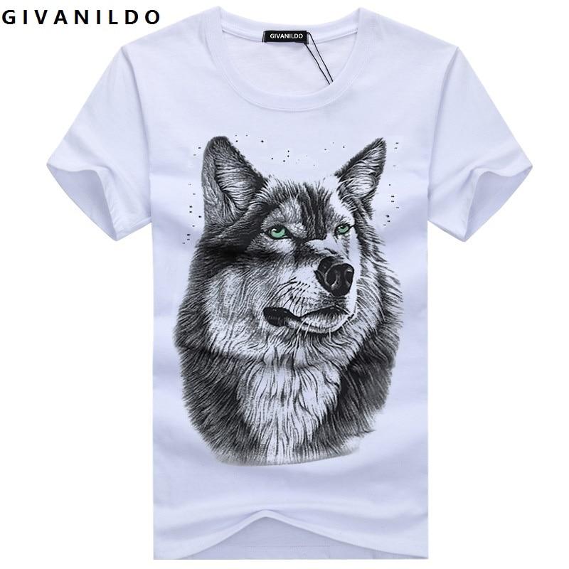 Givanildo Wolf Men T-Shirt 5XL White T shirt Casual Cotton Printed Cartoon Short Sleeve Tee Shirt Large Size Summer Hot BY007