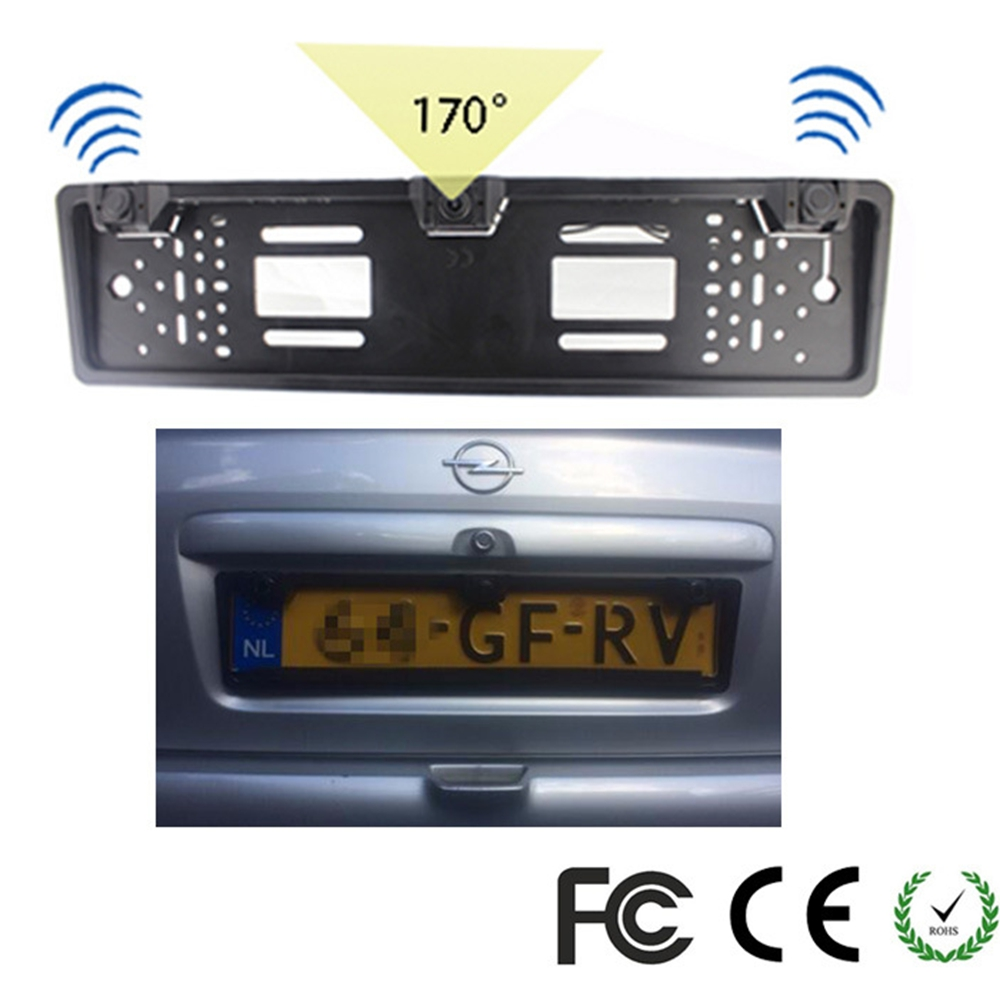 1 European License Plate Frame + 1 Car Rear View Camera + 2 Parking Sensor Auto Number Plate Frame for License Plate Car-styling koorinwoo new car license plate frame